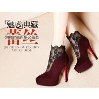 莫蕾蔻蕾 新款蕾丝高跟鞋细跟女鞋女靴子短靴后拉链时装靴212-9