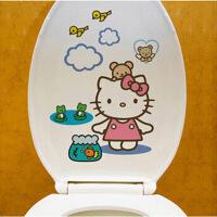 马桶贴墙贴可爱创意卡通人物防水自粘马桶贴 颜色随机