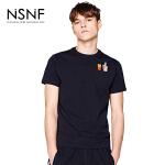 NSNF纯棉装饰刺绣图案黑色短袖T恤 2017年春夏新款