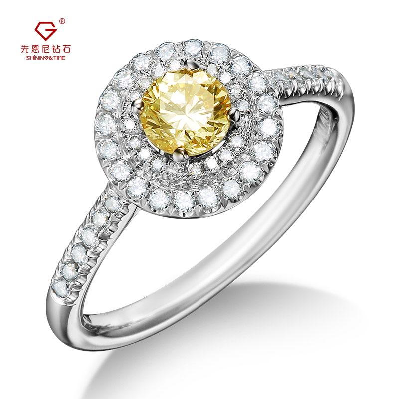 先恩尼钻石 白18K金婚戒 钻石戒指 黄钻 克拉钻效果 彩钻 结婚戒指 订婚戒指 求婚戒指 ZJ260 付证书清新茉莉系例 满减加赠品 多买多送