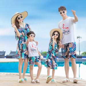白领公社 亲子装 夏季新款大码夏装全家装家庭装母子母女装情侣装宝宝卡通棉男女短袖T恤