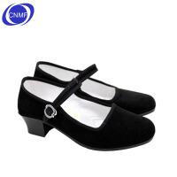 谋福 老北京布鞋 单鞋 酒店工作鞋 礼仪鞋 广场舞鞋 工作鞋 黑色 带跟布鞋