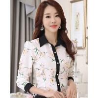 女士上衣印花时尚衬衫 雪纺衫新款女装衬衣韩版修身长袖打底衫