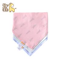 童泰新生儿用品婴儿三角巾宝宝卡通三角围嘴三条装围兜口水巾