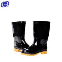谋福 男士中高筒雨靴 牛津套鞋 橡胶鞋 防水 防滑 黑色 黄底 中筒