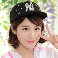贴钻NY 女士休闲棒球帽 韩版情侣嘻哈平檐帽 街舞平沿帽