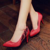 女鞋单鞋尖头高跟优雅礼服女鞋水钻绸缎面红结婚鞋