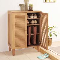 家逸 简约现代实木开门鞋柜 超薄开门玄关鞋柜大容量 桐木家具换鞋凳