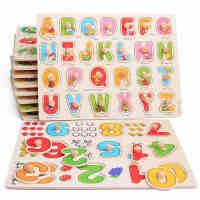 木制数字字母手抓拼板嵌板木质拼图儿童益智早教智力玩具1-2-3岁