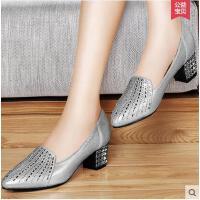 百年纪念 新品单鞋 新款尖头粗跟 高跟低帮女鞋1073