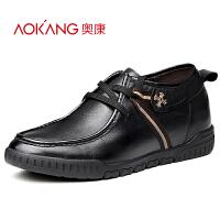 奥康 隐形内增高男鞋6cm男士休闲皮鞋日常真皮韩版小码增高鞋