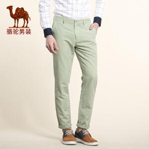 骆驼男装 春季新款无弹中腰纯色长裤 商务直筒偏硬休闲裤男