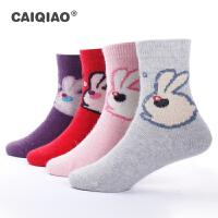 彩桥女童兔羊毛袜加厚保暖冬款袜子卡通兔羊毛加厚袜子暖冬行动