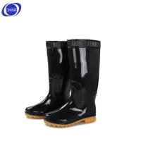 谋福 男士中高筒雨靴 牛津套鞋 橡胶鞋 防水 防滑 黑色 黄底 高筒