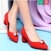 盾狐 新品欧美时尚女鞋尖头高跟鞋粗跟单鞋套脚浅口女鞋子 5010