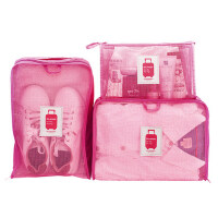 旅行收纳袋3件套装 便携洗漱包衣物收纳袋鞋袋旅游行李箱整理包