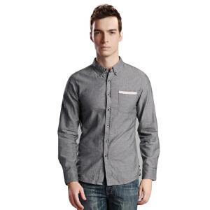 鸿星尔克erke男都市休闲条纹撞色长袖衬衫修身翻领运动T恤上衣11214105402