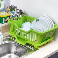 普润 厨房置物架 塑料加厚滴水碗碟收纳架 滤水沥水碗碟架 滴水碗架(正面漏水)--绿色