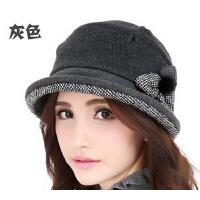 新款时尚礼帽女 保暖羊毛女帽 韩版优雅卷边帽子