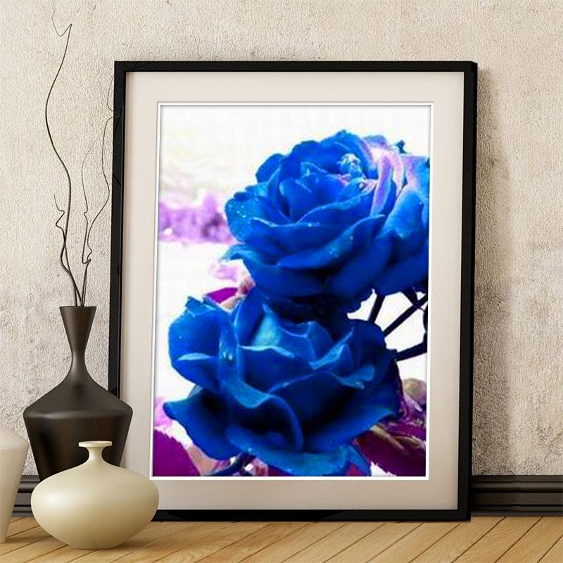 十字绣蓝色妖姬小幅套件新款客厅画欧式风格玫瑰花