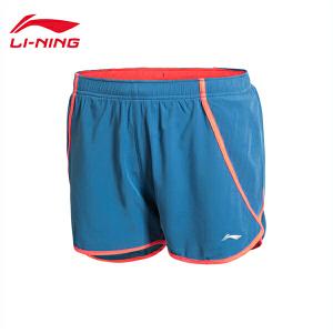 李宁跑步系列速干女装平口运动短裤AKSK142