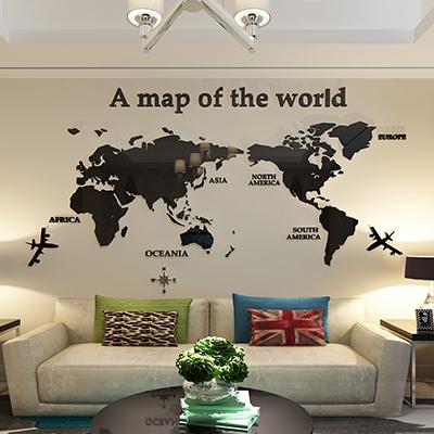 世界地图 水晶3d 亚克力 立体墙贴纸 客厅 卧室 沙发 电视背景墙装饰