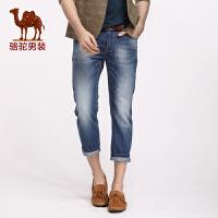 骆驼男装 春夏新款小脚牛仔裤 男士中腰时尚薄款九分裤潮