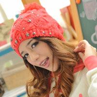 韩版小铆钉毛线帽 卷边套头绒线帽 保暖女帽
