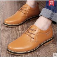 古奇天伦牛筋底鞋子真皮英伦圆头系带男士休闲皮鞋GH6001
