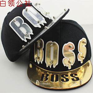 白领公社 棒球帽 新款BOSS亚克力铆钉非主流嘻哈帽平沿帽韩版潮男女士夏季遮阳帽子