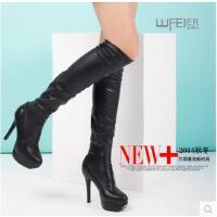 王菲儿857―1时尚细跟套筒长靴显瘦加绒弹力布12cm高跟女靴