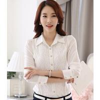 新款时尚百搭女装衬衫长袖蕾丝衫韩版打底衫女上衣雪纺衫