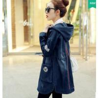 新款韩版大码宽松外套女中长款斗篷潮个性时尚收腰长袖牛仔风衣