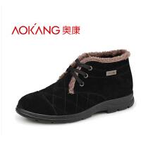 奥康冬季男鞋高帮反绒皮男士棉鞋加绒保暖男日常休闲鞋短靴子