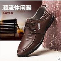 杰豪 新款男士休闲皮鞋英伦真皮系带鞋软面皮软底鞋G66116