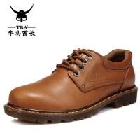 牛头酋长新款流行大头皮鞋 英伦男士鞋子 真皮男工装鞋8065