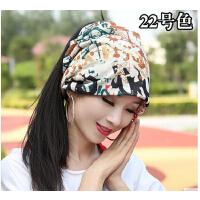 新款时尚休闲女士帽子韩版潮堆堆帽两用头巾帽围脖包头帽