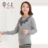 红莲 2014秋冬新款女士蝙蝠袖复古风格纯羊绒衫