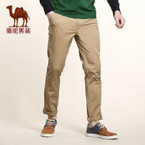 骆驼男装 春季新款微弹中腰修身小脚休闲裤 商务休闲长裤男