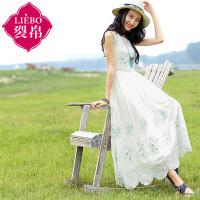 裂帛2017夏装新款刺绣雪纺料无袖连衣裙花瓣形长裙女51151565