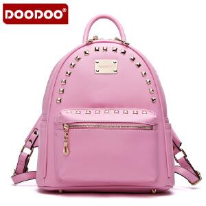 DOODOO 2017新款女包背包欧美风时尚包铆钉双肩背包学院风书包女式包 D5005 【支持礼品卡】