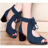 莫蕾蔻蕾新款 春夏女鞋高跟韩版女单鞋蝴蝶结粗跟网纱鱼嘴凉鞋