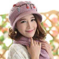 韩版帽子围巾两件套女一体套装 保暖毛线围巾女 帽子