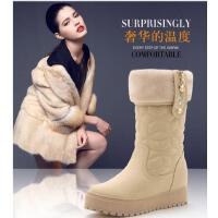 盾狐加绒女鞋平底雪地靴学生内增高中筒靴松糕厚底女靴潮D9062