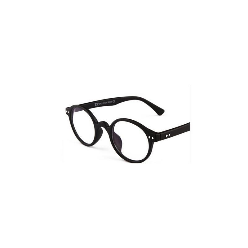 潮流男女款复古流行户外太阳镜 时尚百搭眼镜 圆框_哑黑色