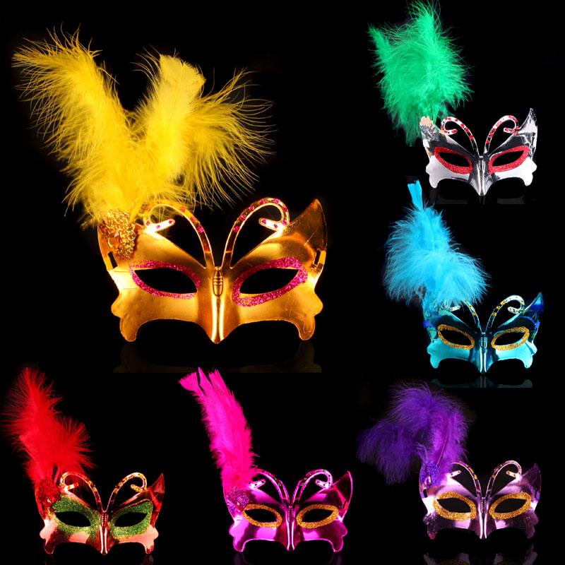 1圣诞节街舞会面具儿童成人蝴蝶侧羽毛面具 彩绘公主面具21g