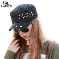 CACUSS新款 韩版平顶帽女军帽帽子女士夏天遮阳帽潮女铆钉帽P0036