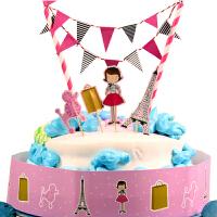 孩派 甜品桌布置插牌 生日蛋糕小插旗 卡通插卡 儿童趣味小拉旗