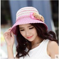 时尚甜美太阳帽女帽子女遮阳帽草帽遮阳帽玫瑰花朵大沿新款