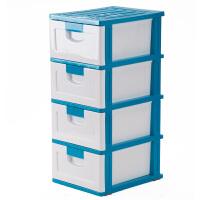 [当当自营]禧天龙Citylong 抽屉式儿童储物整理柜 0227 蓝白色 四层塑料收纳柜收纳盒整理箱收纳箱